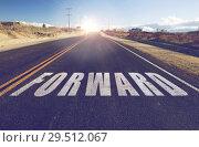 Купить «close up of word forward on suburban asphalt road», фото № 29512067, снято 3 марта 2018 г. (c) Syda Productions / Фотобанк Лори