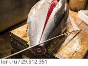 Купить «fresh gutted tuna fish at japanese street market», фото № 29512351, снято 10 февраля 2018 г. (c) Syda Productions / Фотобанк Лори