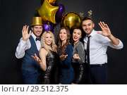 Купить «friends at christmas or new year party», фото № 29512375, снято 3 марта 2018 г. (c) Syda Productions / Фотобанк Лори