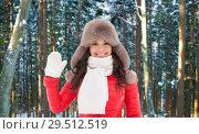 Купить «happy woman in hat waving hand over winter forest», фото № 29512519, снято 7 января 2017 г. (c) Syda Productions / Фотобанк Лори