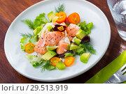 Купить «Ceviche from salmon on plate with cumquat, green dill and avocado», фото № 29513919, снято 26 марта 2019 г. (c) Яков Филимонов / Фотобанк Лори
