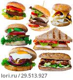 Купить «Cheeseburgers, sandwiches and fastfood dishes isolated on white background», фото № 29513927, снято 25 апреля 2019 г. (c) Яков Филимонов / Фотобанк Лори