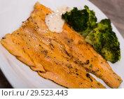 Купить «Grilled trout fillet with broccoli», фото № 29523443, снято 23 марта 2019 г. (c) Яков Филимонов / Фотобанк Лори