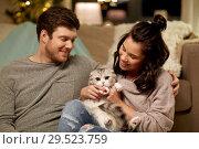 Купить «happy couple with cat at home», фото № 29523759, снято 13 января 2018 г. (c) Syda Productions / Фотобанк Лори