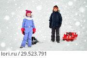 Купить «happy little kids with sleds in winter», фото № 29523791, снято 10 февраля 2018 г. (c) Syda Productions / Фотобанк Лори