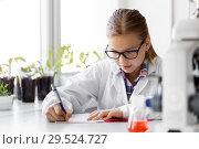 Купить «girl studying chemistry at school laboratory», фото № 29524727, снято 19 мая 2018 г. (c) Syda Productions / Фотобанк Лори