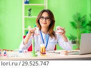 Купить «Woman dentist working on teeth implant», фото № 29525747, снято 11 июня 2018 г. (c) Elnur / Фотобанк Лори