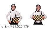 Купить «Funny man with chessboard isolated on white», фото № 29526179, снято 25 ноября 2013 г. (c) Elnur / Фотобанк Лори