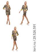 Купить «Blondie in gray satin dress isolated on white», фото № 29526591, снято 17 сентября 2014 г. (c) Elnur / Фотобанк Лори
