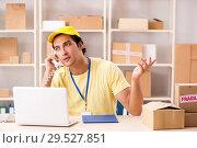 Купить «Handsome contractor working in box delivery relocation service», фото № 29527851, снято 24 июля 2018 г. (c) Elnur / Фотобанк Лори