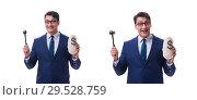 Купить «Lawyer with a gavel and a moneybag money bad isolated on white», фото № 29528759, снято 22 мая 2017 г. (c) Elnur / Фотобанк Лори