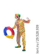 Купить «Funny clown isolated on white background», фото № 29528939, снято 28 сентября 2018 г. (c) Elnur / Фотобанк Лори