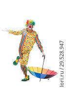 Купить «Funny clown isolated on white background», фото № 29528947, снято 28 сентября 2018 г. (c) Elnur / Фотобанк Лори