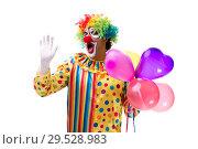 Купить «Funny clown isolated on white background», фото № 29528983, снято 28 сентября 2018 г. (c) Elnur / Фотобанк Лори
