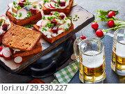 Купить «danish open faced sandwiches and beer», фото № 29530227, снято 1 декабря 2018 г. (c) Oksana Zh / Фотобанк Лори