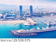 Купить «aerial view of Port Olimpic from helicopter. Barcelona», фото № 29530575, снято 8 июля 2016 г. (c) Яков Филимонов / Фотобанк Лори