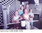 Купить «Portrait of family who is satisfied of visit of entertainment», фото № 29530735, снято 3 августа 2017 г. (c) Яков Филимонов / Фотобанк Лори