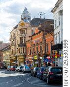 Купить «Old buildings on streets of Arad, Romania», фото № 29530999, снято 13 сентября 2017 г. (c) Яков Филимонов / Фотобанк Лори