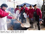 Купить «Feast of escudella, Castelltercol», фото № 29531011, снято 13 февраля 2018 г. (c) Яков Филимонов / Фотобанк Лори