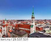 Купить «Top view of Munich, St. Peter's Church, old town hall and city buildings, Bavaria Germany», фото № 29537531, снято 18 декабря 2012 г. (c) Наталья Волкова / Фотобанк Лори