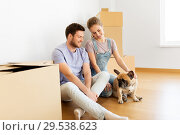 Купить «happy couple with boxes and dog moving to new home», фото № 29538623, снято 4 июня 2017 г. (c) Syda Productions / Фотобанк Лори