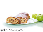 Купить «sweet homemade apple strudel isolated on white», фото № 29538799, снято 6 декабря 2018 г. (c) Peredniankina / Фотобанк Лори