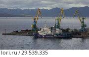 Купить «Coal terminal in Commercial Seaport of Petropavlovsk City in Pacific Ocean», видеоролик № 29539335, снято 19 сентября 2018 г. (c) А. А. Пирагис / Фотобанк Лори