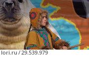 Купить «Girl dancing in national clothing indigenous inhabitants Kamchatka», видеоролик № 29539979, снято 4 ноября 2018 г. (c) А. А. Пирагис / Фотобанк Лори