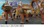 Girls in national clothing indigenous Kamchatka dancing and beats tambourine (2018 год). Редакционное видео, видеограф А. А. Пирагис / Фотобанк Лори