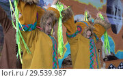 Купить «Group of girls dancing in national clothing indigenous inhabitants Kamchatka», видеоролик № 29539987, снято 4 ноября 2018 г. (c) А. А. Пирагис / Фотобанк Лори