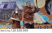 Купить «Incendiary dance of indigenous inhabitants of Kamchatka with tambourine», видеоролик № 29539995, снято 4 ноября 2018 г. (c) А. А. Пирагис / Фотобанк Лори