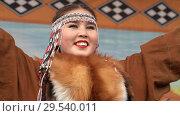 Купить «Portrait of young woman dancer in national clothing indigenous Kamchatka», видеоролик № 29540011, снято 4 ноября 2018 г. (c) А. А. Пирагис / Фотобанк Лори