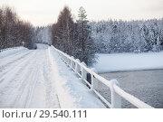 Купить «Заснеженный автомобильный мост и дорога через реку, зима», фото № 29540111, снято 23 декабря 2014 г. (c) Кекяляйнен Андрей / Фотобанк Лори