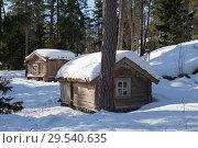 Купить «Old wooden house in  the Finnish forest in winter», фото № 29540635, снято 17 марта 2013 г. (c) Куликов Константин / Фотобанк Лори