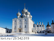 Купить «View of the Kremlin in Rostov the Great and the assumption Cathedral in winter, Rostov the Great, Golden ring, Russia», фото № 29542019, снято 17 февраля 2015 г. (c) Наталья Волкова / Фотобанк Лори