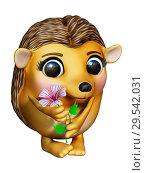 Ёжик с цветком. Стоковая иллюстрация, иллюстратор Александр Княжецкий / Фотобанк Лори