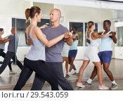 Купить «People exercising waltz movements in pairs», фото № 29543059, снято 30 июля 2018 г. (c) Яков Филимонов / Фотобанк Лори
