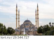 Купить «Чечня, Грозный. Мечеть им. Ахмат-Хаджи Кадырова (Сердце Чечни), вид со стороны главного входа. Main mosque of the Chechen Republic - Akhmad Kadyrov Mosque (Heart of Chechnya) and and skyscrapers of Grozny-city», фото № 29544727, снято 7 октября 2015 г. (c) Ольга Шуклина / Фотобанк Лори