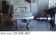 Купить «Precision milling CNC machine tool makes part», видеоролик № 29545407, снято 26 октября 2018 г. (c) Андрей Радченко / Фотобанк Лори