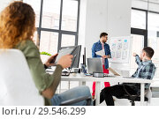Купить «creative man showing user interface at office», фото № 29546299, снято 1 апреля 2018 г. (c) Syda Productions / Фотобанк Лори