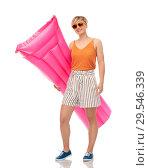 Купить «teenage girl in sunglasses with pool mattress», фото № 29546339, снято 30 июня 2018 г. (c) Syda Productions / Фотобанк Лори