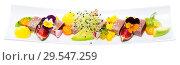 Купить «Seared tuna with mango, avocado, figs», фото № 29547259, снято 19 декабря 2018 г. (c) Яков Филимонов / Фотобанк Лори