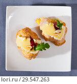 Купить «Camembert cheese on a mini croissant, french dessert at plate», фото № 29547263, снято 19 февраля 2019 г. (c) Яков Филимонов / Фотобанк Лори