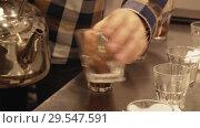 Купить «Brewing freshly roasted and ground coffee beans for sponging stock footage video», видеоролик № 29547591, снято 6 декабря 2018 г. (c) Юлия Машкова / Фотобанк Лори