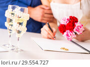 Купить «Wedding ceremony with wife and husband», фото № 29554727, снято 7 августа 2018 г. (c) Elnur / Фотобанк Лори