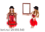 Pretty fairy with picture frame isolated on white. Стоковое фото, фотограф Elnur / Фотобанк Лори