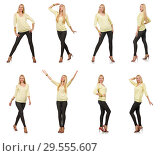 Купить «Pretty woman in yellow blouse isolated on white», фото № 29555607, снято 17 сентября 2014 г. (c) Elnur / Фотобанк Лори
