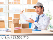 Купить «Male employee working in box delivery relocation service», фото № 29555715, снято 24 июля 2018 г. (c) Elnur / Фотобанк Лори