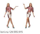 Купить «Pretty model in clothes with carpet prints isolated on white», фото № 29555915, снято 20 марта 2015 г. (c) Elnur / Фотобанк Лори