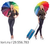 Купить «Woman with suitcase and umbrella isolated on white», фото № 29556783, снято 19 февраля 2019 г. (c) Elnur / Фотобанк Лори